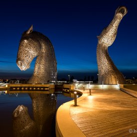 The Kelpies at dusk
